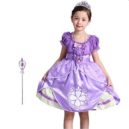 Familycrazy Girl's Princess Sofia Dress up Costume for Birthdays Halloween Cosply