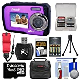 Coleman Duo 2V7WP Dual Screen Shock & Waterproof Digital Camera (Purple) with 16GB Card & Reader + Batteries & Charger + Case + Float Strap Kit