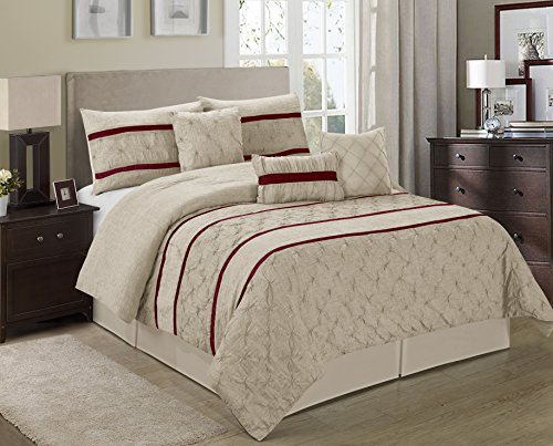 7 Piece Gloria Embroideried Striped Comforter Set Queen King CalKing Size (Queen, Taupe)