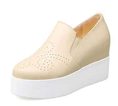 44fe0c90378 Aisun Women s Casual Elevator Round Toe Wedge High Heels Platform Sneakers  Slip On Loafers Shoes Beige