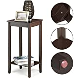 Yaheetech Tall Wood End Table Sofa Side Coffee Table with Lower Shelf, Brown (Set of 2)