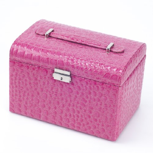 Weanas(TM) Leatheroid Jewelry Box Case Storage Organizer Gift with Travel Lock Mirror large (Rose Red)