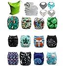 Cloth Diaper , Reusable Washable Baby Pocket Cloth Diaper Nappy Fabulous Print 12pcs +12 insert free Wet Bag & 4 Bibs (DSB-12AD-2)
