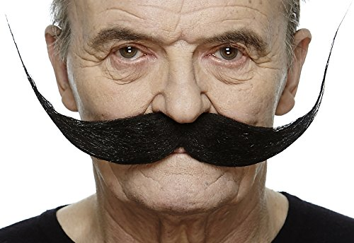 Mustaches Self Adhesive Fake Mustache, Novelty, Large Dali Black False Facial Hair, Costume Accessory for Adults, Black Color