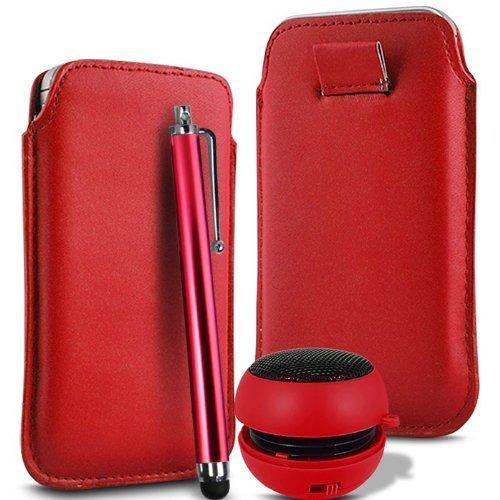 N4U Online - Apple Iphone 3GS supérieure PU souple Pull en cuir flip Tab Housse couverture stylet et mini haut-parleur rechargeable - Rouge