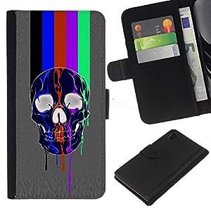 Be-Star la tarjeta de Crédito Slots PU Funda de cuero Monedero caso cubierta de piel Sony Xperia Z4v / Sony Xperia Z4 / E6508 ( Rainbow Tv Skull Grey Pattern Lines )
