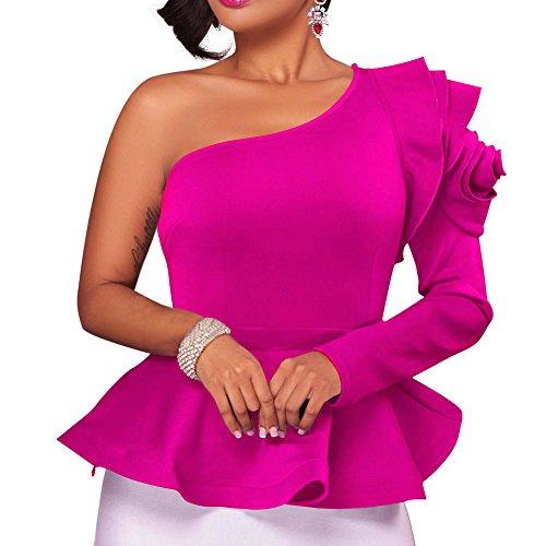 ffles One Shoulder Plain Lotus Leaf Off Shoulder Long Sleeve Blouse Loose Shirts Tops M Rose (Pink Long Sleeve Skirt)