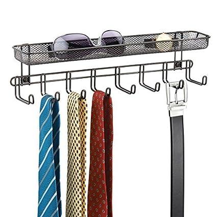 mDesign Perchero de pared con cesta organizadora color bronce - Colgador de collares y accesorios con