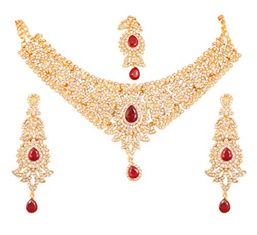 Touchstone New Indian Bollywood Desire Paisley Motif Legandary Studded Diamond Look White Rhinestones Faux Ruby Designer Bridal Jewelry Necklace Set in Antique Gold Tone for Women