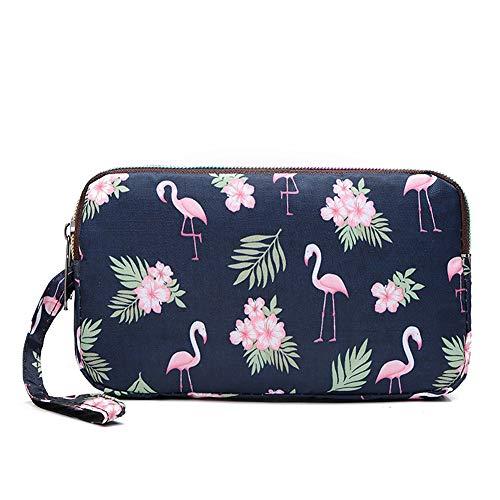 Badiya Floral Cellphone Wallet Triple Zip Clutch Purse With Wristlet