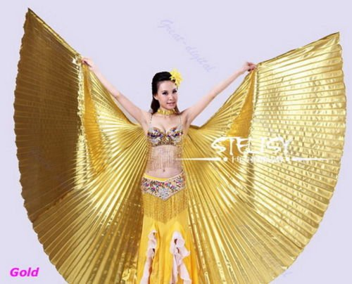 Isis Costume Video (BatterElec(TM) Egyptian Egypt Belly Dance Dancing Costume Isis Wings Dance Wear Wing)