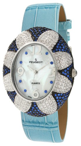 Peugeot Women's J1409BL Blue Swarovski Crystal Oval Case Blue Strap Watch