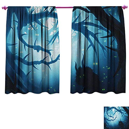 homefeel Mystic Thermal Insulating Blackout Curtain Animal with Burning Eyes in The Dark Forest at Night Horror Halloween Illustration Decor Curtains by W120 x L72 Navy White ()