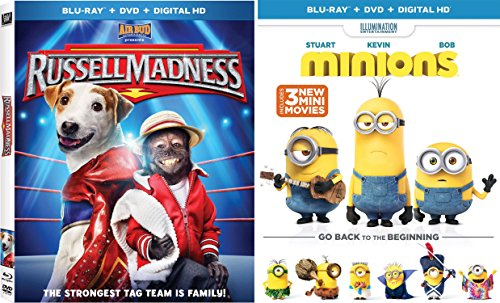 Minions (Blu-ray + DVD + DIGITAL HD) + Russell Madness Blu Ray DVD Family Animal Fun Movies DVD Kids animated