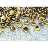 1544● クラフト金具 片面カシメ 頭径6mm 足5mm アンティークゴールド(真鍮古美) 100個入り 使いやすい 良い品質
