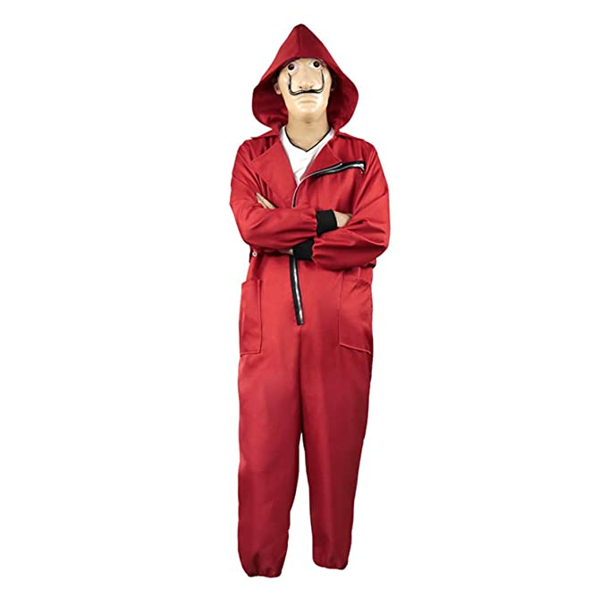 Yan Dream La casa de Papel Season 3 Costume Red Coverall Jumpsuits Hoodie with Dali Latex Mask