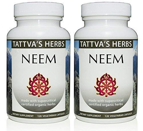 Organic Neem Leaf Holistic Extract – Internal Detox, Reduces Acne, Supports Healthy Skin 500 mg. 240 Vcaps Herbal Supplement 2 Month Supply – from Tattva s Herbs