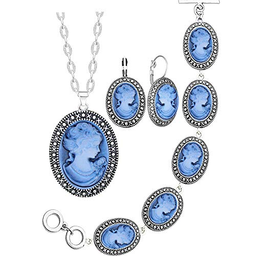 Blue Lady Queen Cameo Jewelry Sets Vintage Look Necklace Earrings Bracelet Antique Silver Plated Fashion Jewelry (Blue) ()