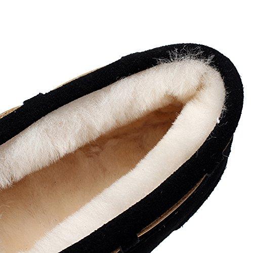 Rismart Womens High-end Schapenvacht Wollen Voering Warme Slippers Winter Suede Mocassins Platte Instappers Zwart S1017 Us7