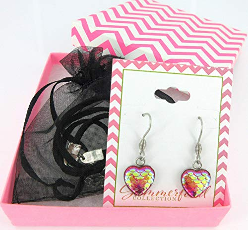 (Pink Mermaid Heart Choker Necklace Faux Black Suede Cord Dangle Earrings Set)