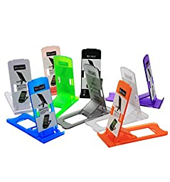 Honsky Universal Portable Pocket-sized Adjustable Collapsible Plastic Cellphone Holder, Tablet Stands, Smartphone Mounts, Mobile Cell Phone Mount (Bundle, Multi-Color, Clear) - 9 Pack