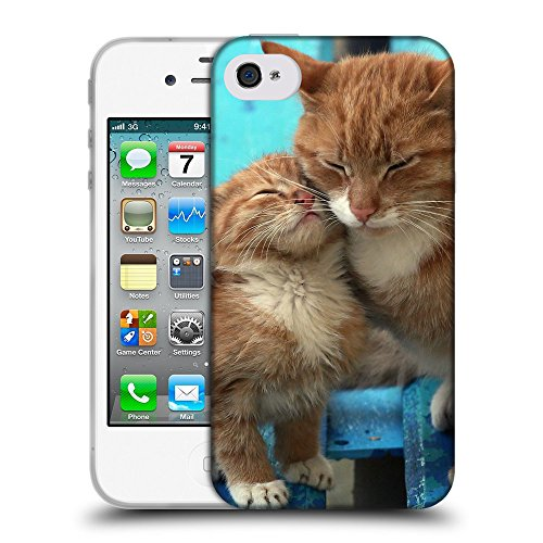 Just Phone Cases Coque de Protection TPU Silicone Case pour // V00004244 Ginger chat embrasse son chaton // Apple iPhone 4 4S 4G