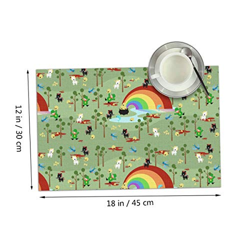 Coolfun St Patricks Day Leprechaun Scary Unicorn Creepy Themed Print Pattern 4 Piece Set of Placemats Pc Party Kitchen Dining Room Home Table Place Mat Patio Holidays Decorations Decor Ornament]()