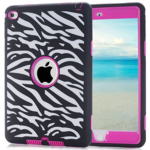 iPad Mini 4 Case, Speedup 3 in 1 Shockproof Hybrid Case Hard Cover PC + Silicone Full Body Protective High Impact Defender Cover For Apple 7.9 inch iPad Mini4 (Zebra / Pink)