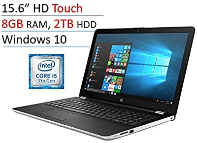 "2018 Newest HP 15.6"" Touchscreen Premium Laptop PC, Intel Core i5-7200U, 8GB DDR4, 2TB HDD, Intel HD Graphics 620, 802.11ac, Bluetooth, DVD RW, USB 3.1, HDMI, Webcam, Windows 10 Home, Silver"