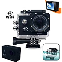 Xtech KoolCam AC300 HD 1080p H.264 Waterproof ACTION Camera / Camcorder captures Videos at 1080 pixels 30 frames per second (H.264) with a SUPER 170 degree Wide angle Lens + Wifi Interface + Pro Accessories: Underwater Case, 900mAh Battery, External Charger + USB Cable, Bike Mount, Flat Adhesive Stickers and Mount, Hard Waterproof Cover, It's the Perfect Camera / Camcorder for Kids and Adults