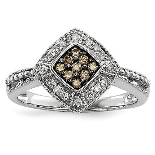 Sterling Silver Champagne Diamond & Small Diamond Shape Ring Size 6