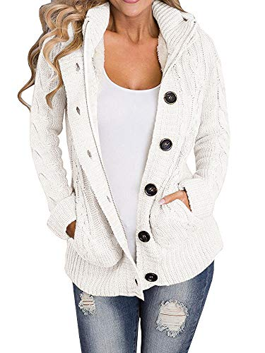 Cashmere Cable Sweater (Yacooh Womens Cardigan Sweaters Cable Knit Open Front Hooded Button Down Sweater Coat)