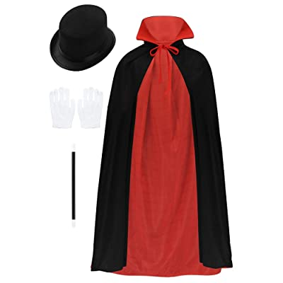 MSemis Kids Boys Girls Jr. Magician with Reversible Cape Hat Gloves and Wand Halloween Party Stage Costume Black 01 Boys & Girls One Size: Clothing