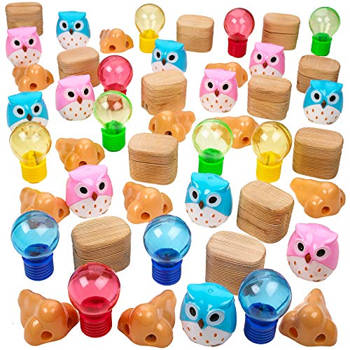 Kicko 1 to 2.5 Inch Assorted Pencil Sharpeners - 48 Pack - Party Needs, Loot Bags, Party Bags - Gift Ideas, Easter Egg Fillers, Halloween Treats, School Rewards, Christmas Treats - Assortments Vary