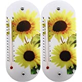 Set of 2 Sunflower Indoor & Outdoor Thermometers! 20cm X 8.7cm - Sunflowers - Tree Frog - Suction Cup Thermometers Perfect for Indoor or Outdoor Use! (2, Sunflower)
