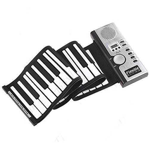 ODGear Portable Roll-Up Flexible Electronic Piano Keyboard with Full 61 Soft Responsive Keys Synthesizer Built-in Speaker Microphone
