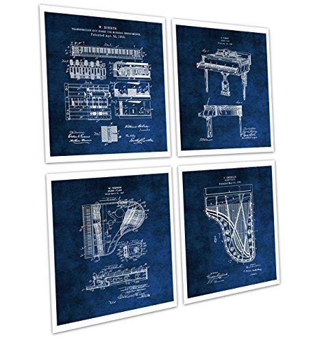 - Gnosis Picture Archive Grand Piano Wall Decor Set of 4 Unframed Piano Blue Prints Music Room Decor Piano Musician Gift Ideas Patents_Piano_Blue4A