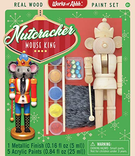 Kids Nutcracker - MasterPieces Works of Ahhh Christmas Real Wood Large Acrylic Paint Kits, Nutcracker Mouse King, for Ages 4+