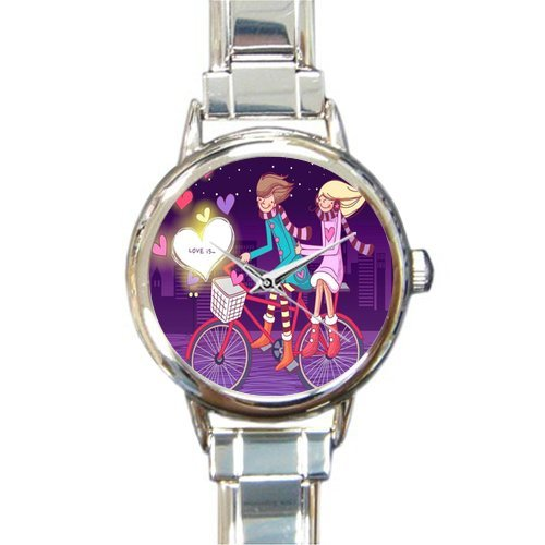Valentine's Day Gift Watch Happy Valentines Day Round Italian Charm stainless steel Watch