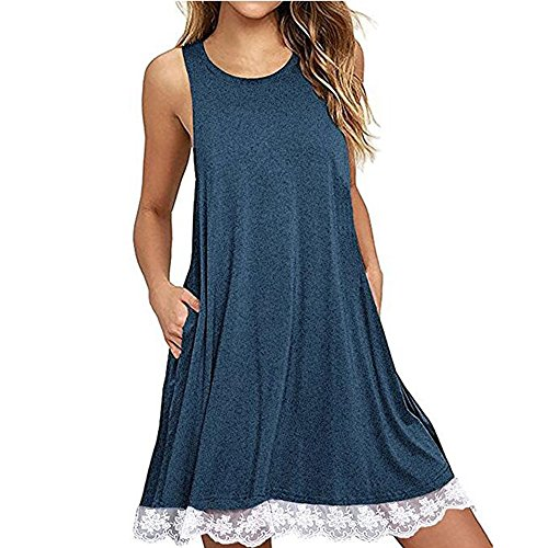 ♡QueenBB♡ Women's Casual Swing T-Shirt Dresses O Neck Loose Above Knee Dress Blue