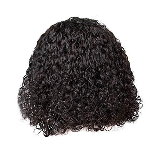 - AJPJ(TM)Ladies Short Curly Wig  Brazilian Women Sexy Charming Rose Net Hair Full Wig Bob Wave Wig Black Natural Looking Wigs 14inch