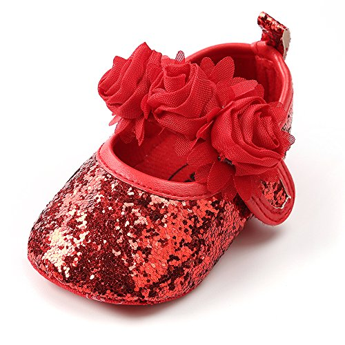 Antheron Baby Girls Mary Jane Flats Soft Sole Infant Moccasins Floral Sparkly Toddler Princess Dress Shoes(Red,12-18 -