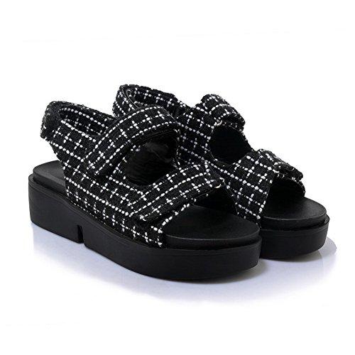 AdeeSu Womens Assorted Colors Platform Hook-and-Loop Urethane Sandals SLC03918 Black TDya5ARg