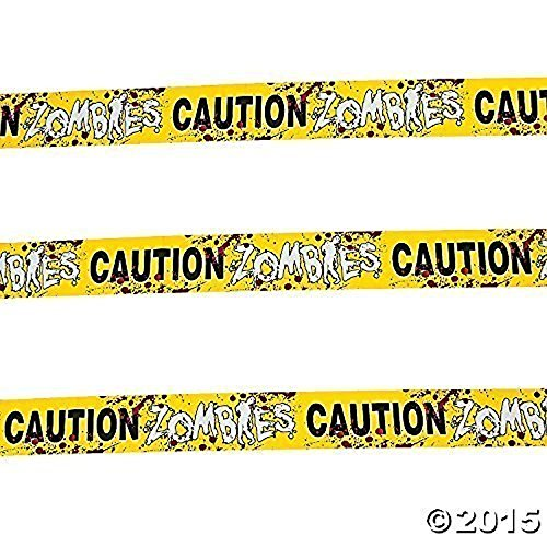 Halloween Caution Zombies Party Tape Roll Pack of 4