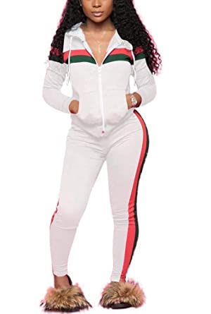 054aad88ea DINGANG Women's 2 Piece Outfits Zip Hoodie Sweatshirt & Sweatpants  Sweatsuits and Plus Size Tracksuit Sets Jogging Suit
