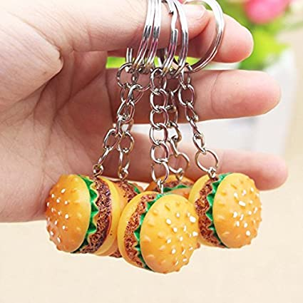 Kingru Cute Hamburger Keychain Simulation Food Pendant Keyring Novelty Key  Chain Fit Christmas Birthday Gift
