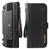 Nintendo Switch Portable Flip Leather Case - OBOR Wallet Style Protective Cover with Kickstand and Magnetic Snap, Wrist Strap Attached for Easy Carrying (Black)