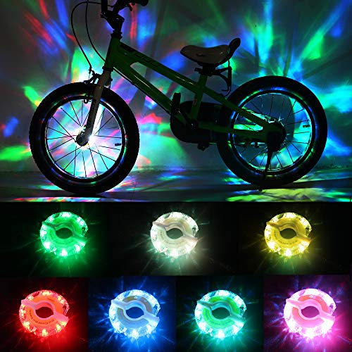 DAWAY Rechargeable Bike Wheel Lights - A16 Cool Led Kids Bicycle Spoke Lights, 2 Tire Pack, Safety Hub Accessories for Boys Girls Adults, Waterproof, Super Bright, Fun Cycling Gifts, 6 Month Warranty