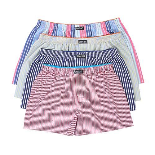 AETAN Men's 4 Pack Soft Cotton Woven Boxer Short (Medium, Assorted Dark Colors, Navy, Brown, Dark Grey, etc.)
