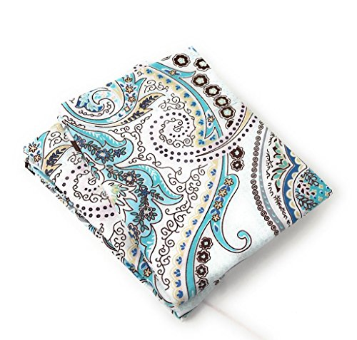 Tache White Blue Paisley Damask Pillowcase - Frozen Forest - Cotton Luxurious Decorative 20x30 Standard/Queen Pillow Case - 2 Piece Set